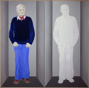 ritratto di Alberto Moravia cm 200 x 200 olio su tela dalla mostra Moravia Ulteriore di Domenico Colantoni 1982