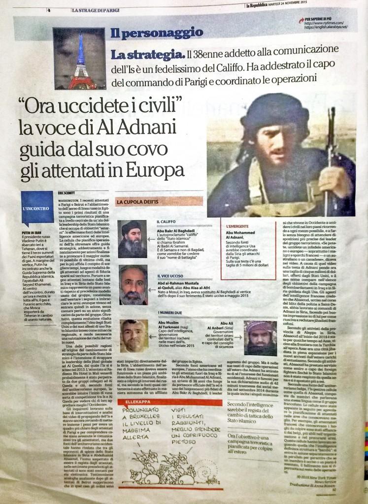 pagina intera IL PERSONAGGIO - La Repubblica- altra gloria agli assassini