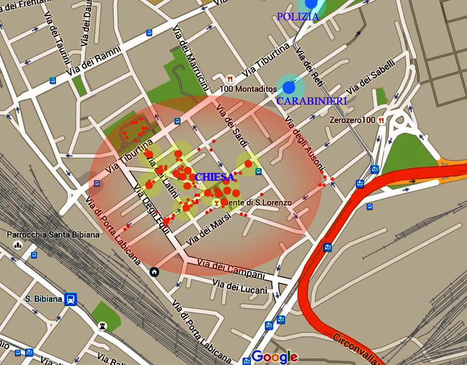 tra le maggiori stazioni ferroviare della città il quartiere di Movida S.Lorenzo e i punti approssimiativi dove quotidianamente spaccia la gang