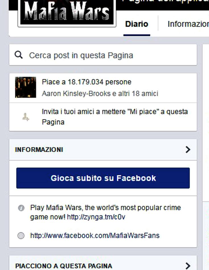 La pagina FB di Mafia War da oltre 18 milioni di seguaci (followers)