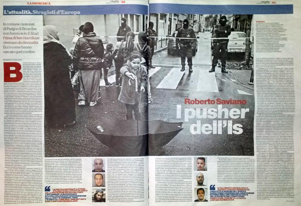 """""""I pusher dell'Is"""" di Roberto Saviano - Domenica di Repubblica 3 aprile 2016"""