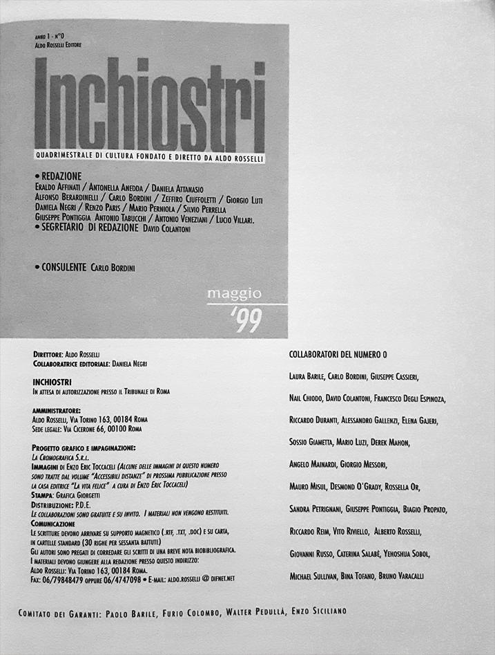 frontespizio interno del numero zero di Inchiostri, 256 pagine