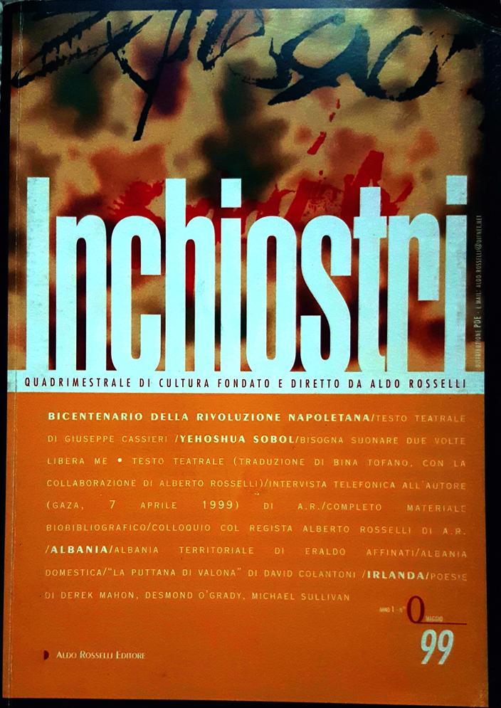 Prima di copertina della numero zero diella rivista Inchiostri diretta e fondata da Aldo Rosselli
