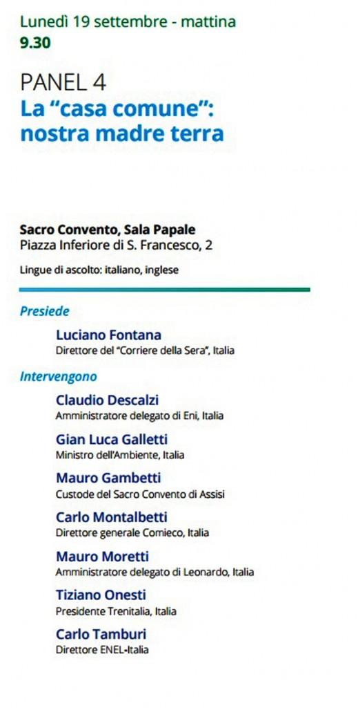 la pagina del programma per il 19 settembre allo spirito d'assisi tra i relatori l'AD di Leonardo Finmeccanica