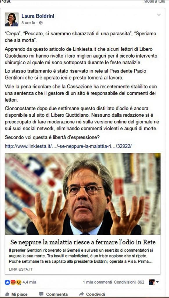 il post della Presidente Boldrini
