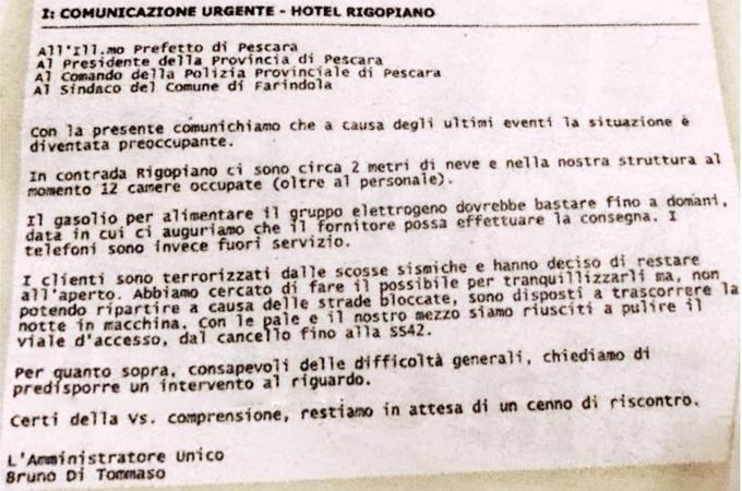La mail di richiesta di aiuto da Hotel Rigopiano al Prefetto e alle altre istituzioni del territorio
