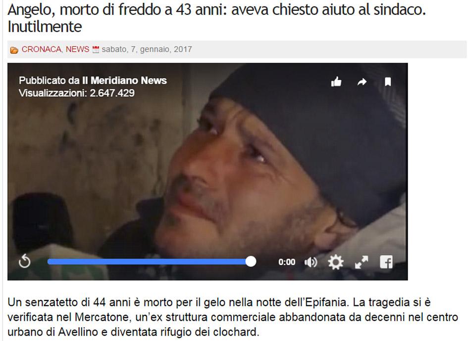screenshot dal sito imola oggi del video della richiesta di aiuto di angelo morto poi assiderato