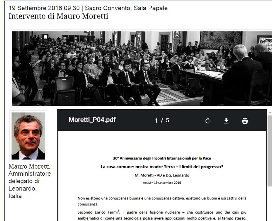 screenshot della pagina con l'intervento di Mauro Moretti AD di Leonardo Finmeccanica. Notiamo che Finmeccanica scompare nell'intestazione lasciando solo Leonardo