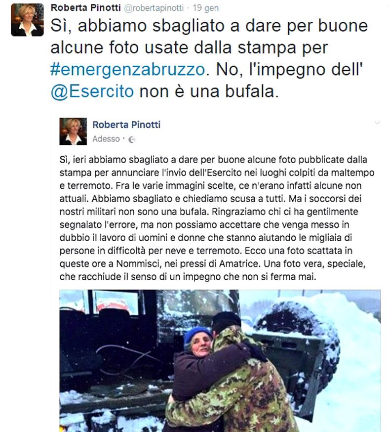 il profilo twitter del Ministro Pinotti costretta alle scuse per aver usato foto di intervento militare emergenza non corrispondenti al presente