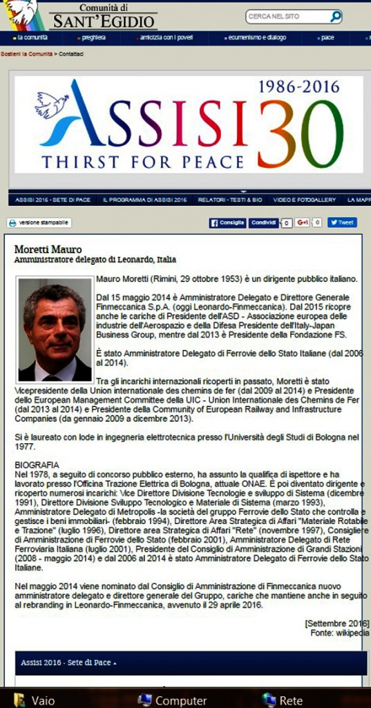 la Bio dell'Amministratore Delegato Mauro Moretti sul sito della conferenza di pace di assisi a cura della comunità di Sant'egidio