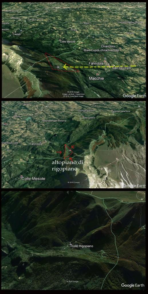 tre punti di vista satellitari dell'altopiano di Rigopiano che mostrano come esso si affacci su un paesaggio di colline