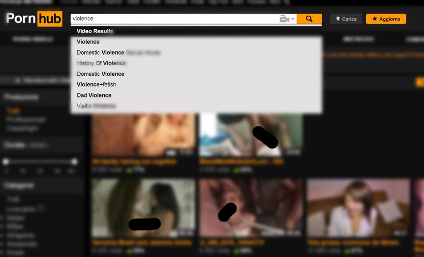 pagina di Sito porno accessibile da qualsiasi bambino/adolescente dedicato alla violenza domestica