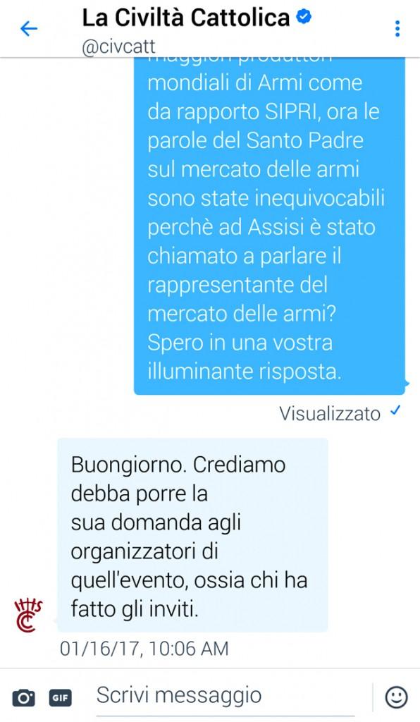 Antonio Spadaro Direttore Civiltà Cattolica, la risposta su twitter alla mia questione e l'invito a chiedere direttamente alla Comunità di Santo Egidio