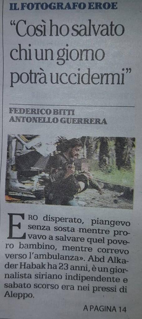 La civetta dell'articolo de La Repubblica sul fotoghrafo sunnita che avrebbe Salvato un bambino sciita