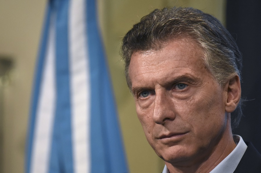 Argentine President Mauricio Macri offers a press conference at the Casa Rosada presidential palace in Buenos Aires on January 17, 2017. While the IMF lowered its growth expectations for Argentina, President Mauricio Macri reiterated that he expects the third largest economy in Latin America to grow by 3% in 2017. / AFP / Eitan ABRAMOVICH (Photo credit should read EITAN ABRAMOVICH/AFP/Getty Images)