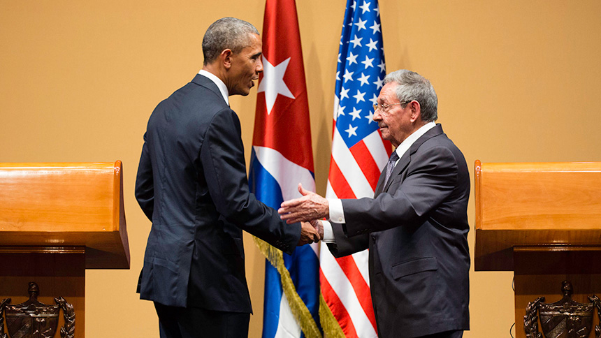 President Obama and President of Cuba Raúl Castro at their joint press conference in Havana, Cuba, Cuba, March 21, 2016. White House photo by Chuck Kennedy.