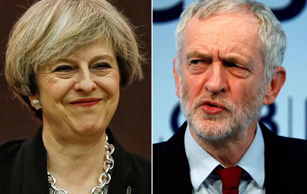 UK Theresa May Jeremy Corbyn