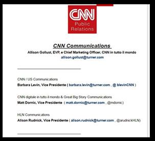 i contatti personali dei dirigenti sul sito della CNN
