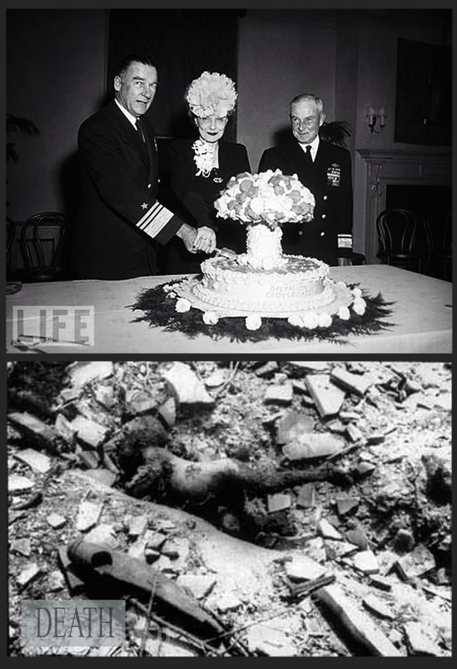 hiroshima e nagasaki morte e vita. ALti ufficiali americani festeggiano con una torta a forma di fungo atomico. Sotto il corpo carbonizzato nell'olocausto nucleare di Hiroshima