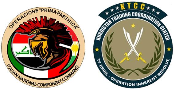 Lo stemma di una missione militare italiana sul sito della difesa. Una estetica molto di pace, con elmi e spade.