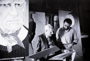 Alberto Moravia e il pittore Domenico Colantoni nel suo St
