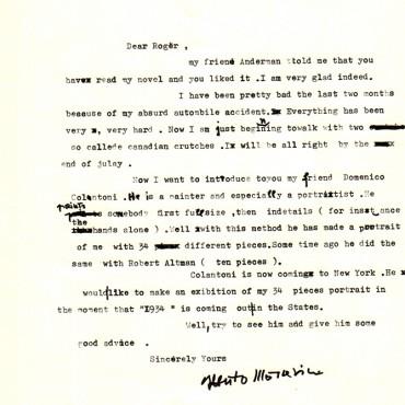 Lettera di Moravia a Roger Straus per presentare Colantoni