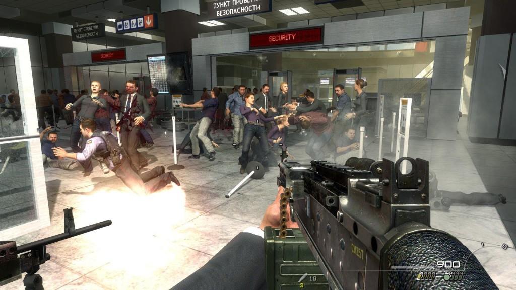 screenshot del videogames Call od duty Modern Warfare2 - momento giocabile della strage dei civili