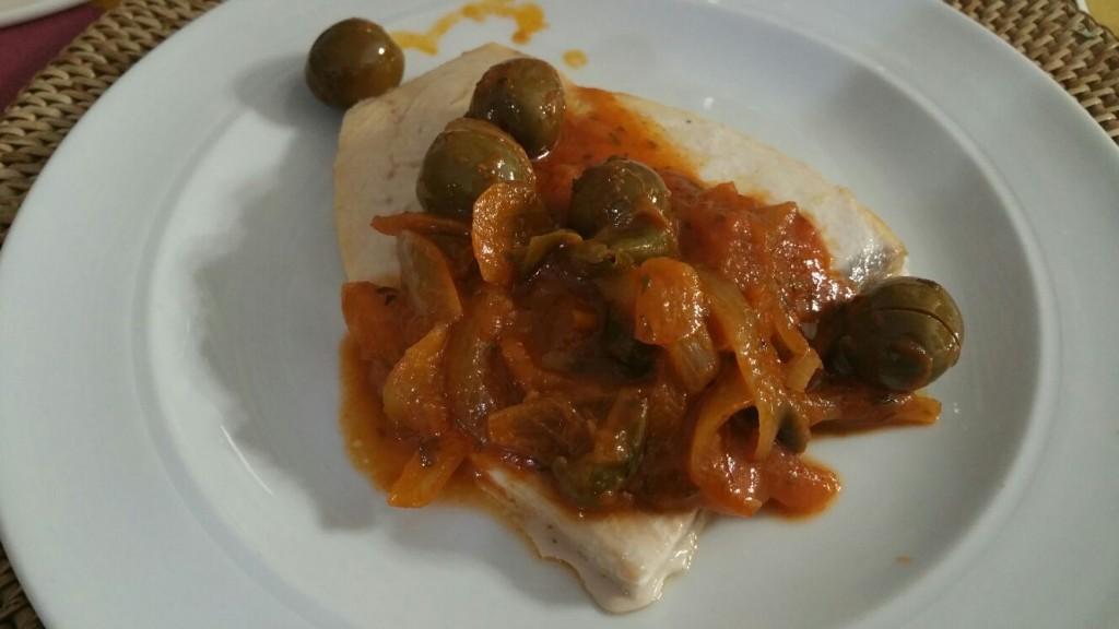 Baccalà con cipolline e olive