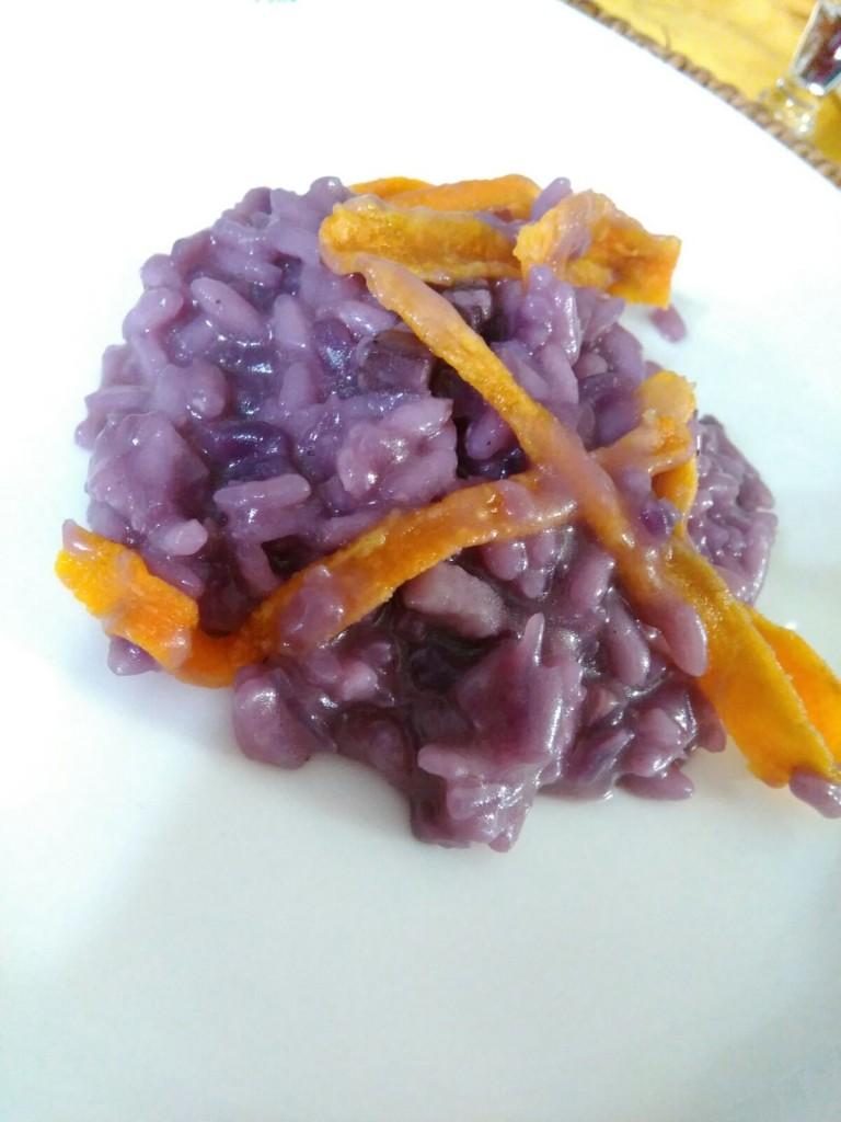 Risotto con cavolo viola e zucca fritta