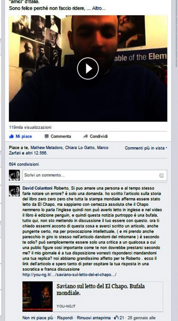 il mio post sulla pagina fb di Roberto Saviano
