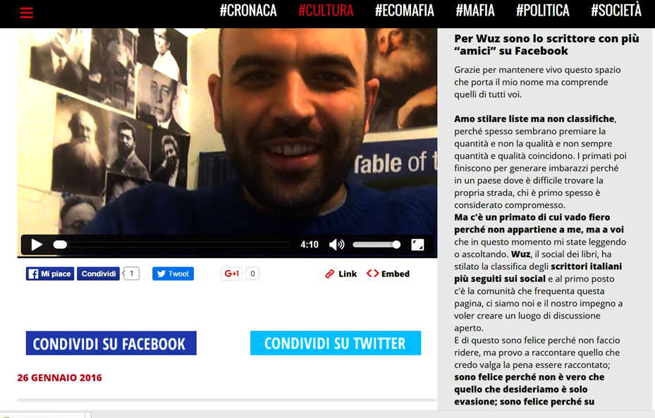screnshoot del sito saviano on line in cui si celebra la comunità dei follower