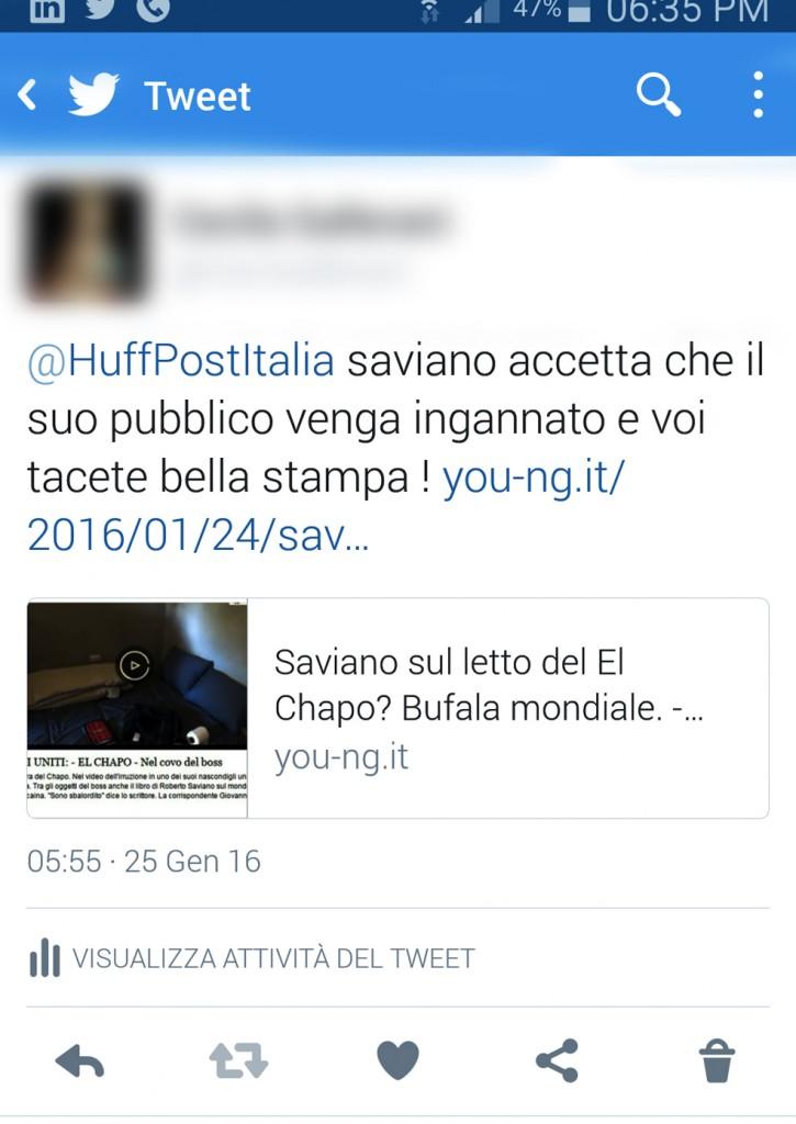 tweet del 25 gennaio 2016 alla redazione de Huffington post italia con il link dell'articolo