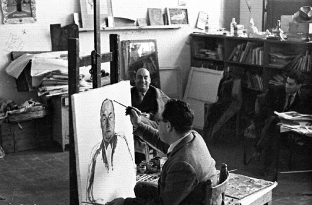 nello Trombadori : Pablo Neruda nello studio di Guttuso- una delle foto del libro