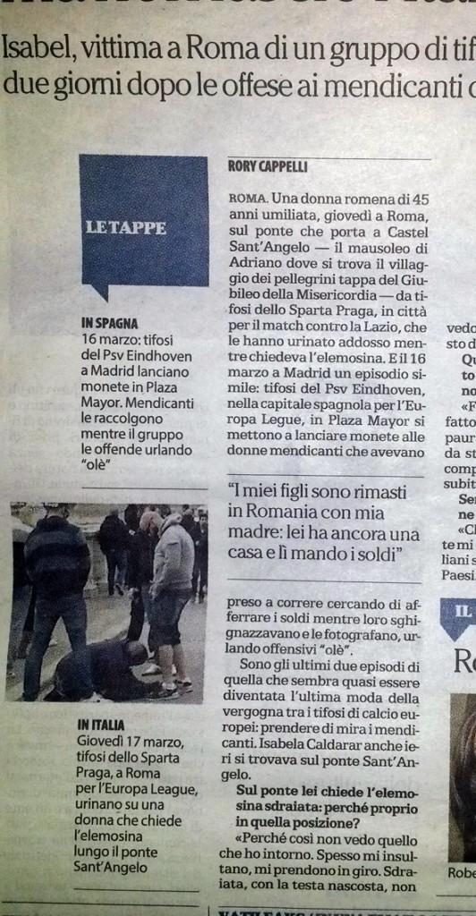 l'articolo de La Repubblica del 19 marzo 2016 sulla vicenda della mendicante a cui hanno urinato addosso