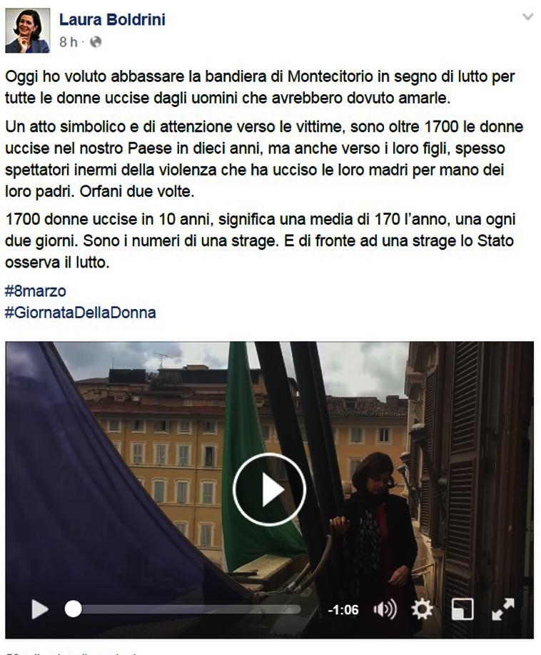 il post del Presidente Laura Boldrini sulla sua pagina Facebook