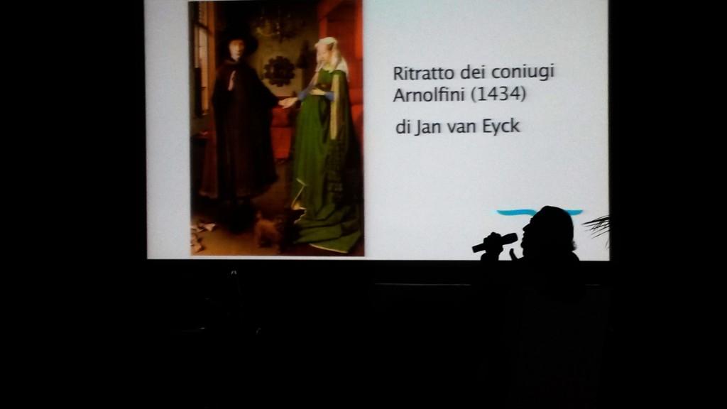 il regista Pupi Avati mentre spiega racconta il ritratto dei coniugi Arnolfini , suo quadro favorito - Ph David Colantoni