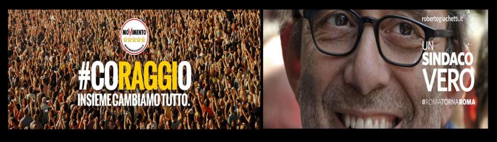 due immagini elettorali per Raggi e Giachetti