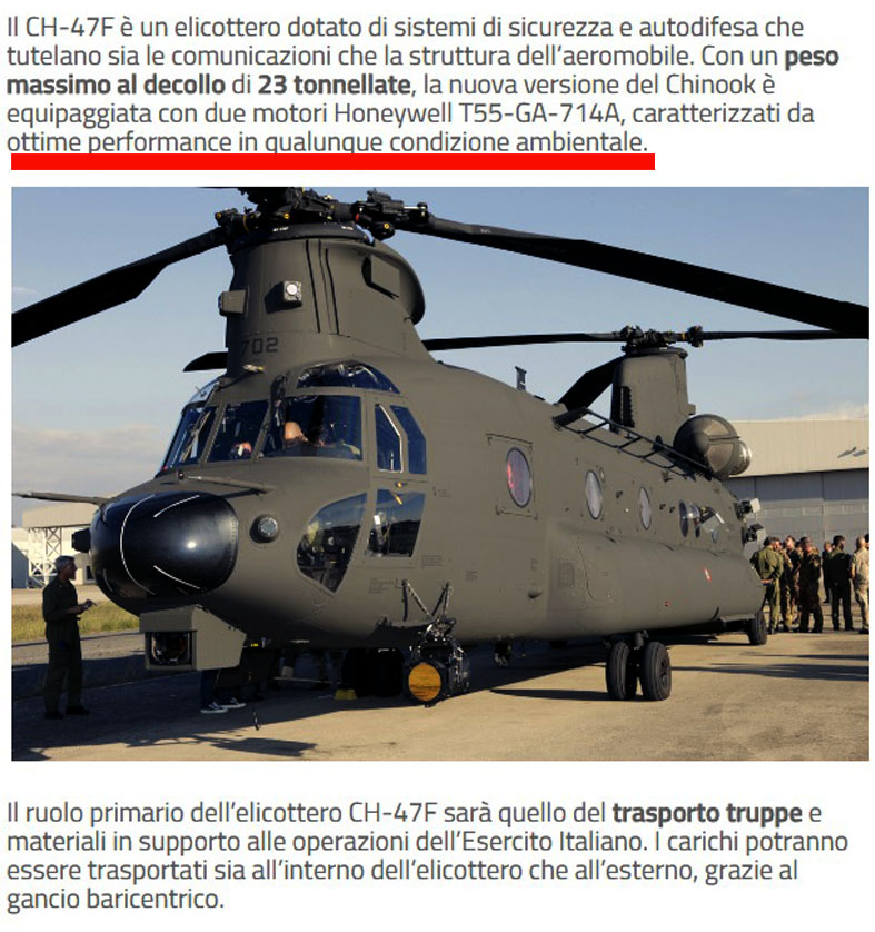 CH 47 F In dotazione al 3° reggimento REOS dichiarato capace di operare in qualsiasi condizione ambientale
