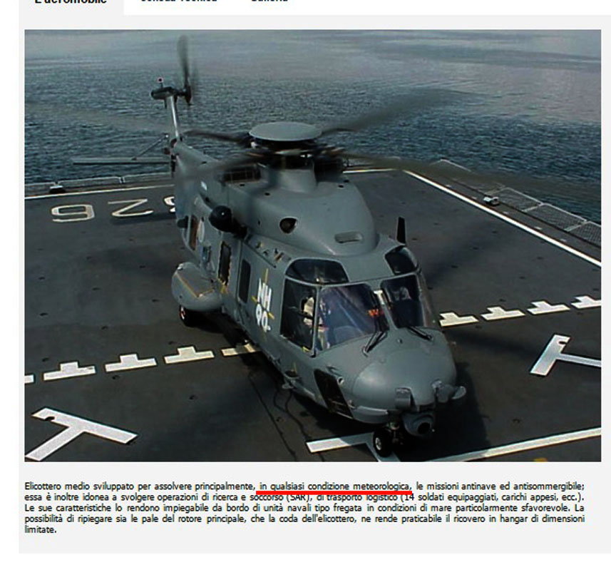 screenshot del sito della Marina MIlitare