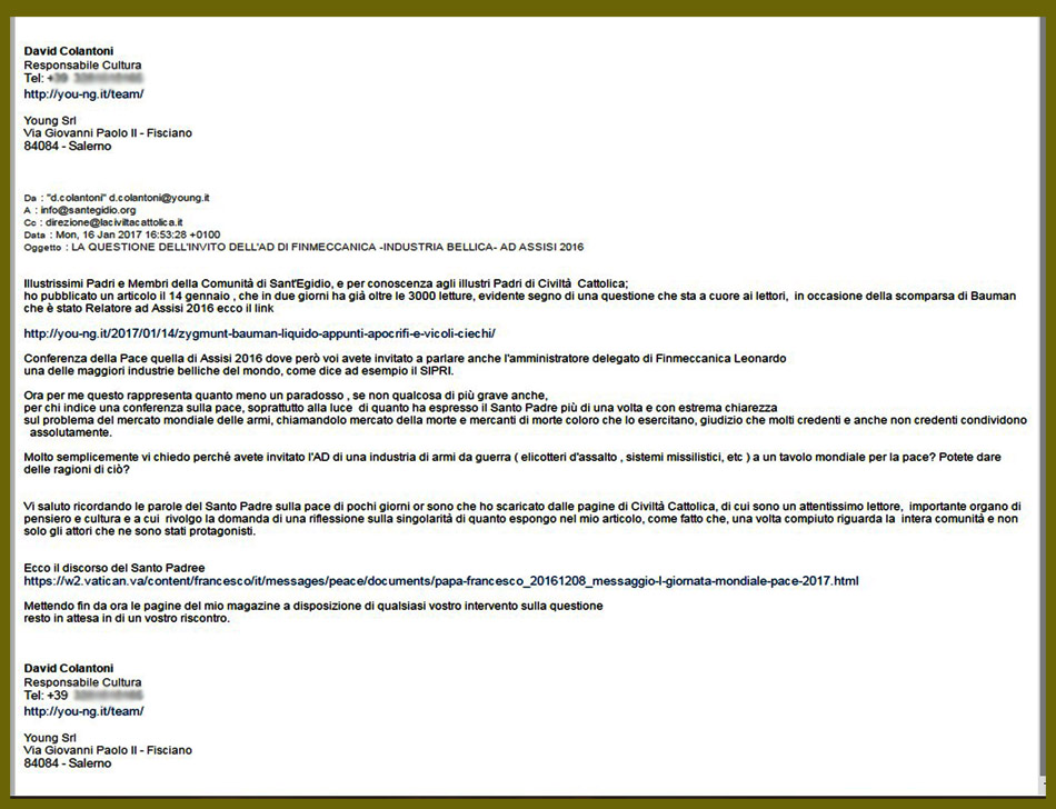 Antonio Spadaro : Lettera a Comunita Sant'egidio e a La Civiltà Cattolica.jpg