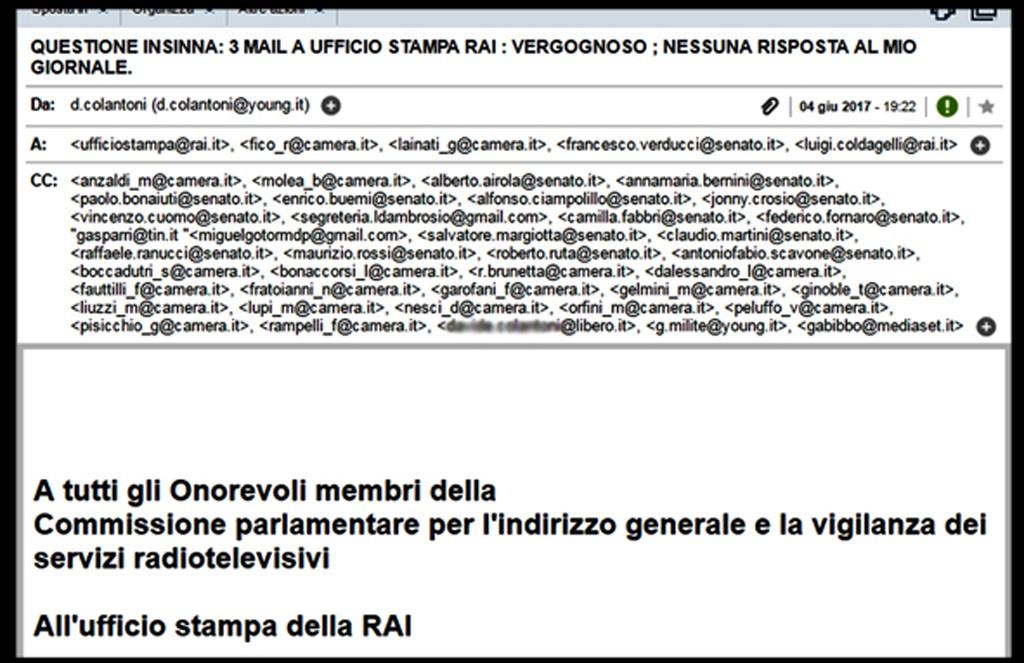 screen shoot mail alla comissione