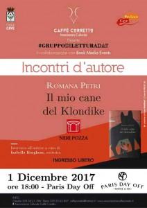 Il mio cane del Klondike sarà presentato il 1 dicembre a Cave all'interno della seconda edizione del Gruppo di lettura day con Romana Petri e Isabella Borghese