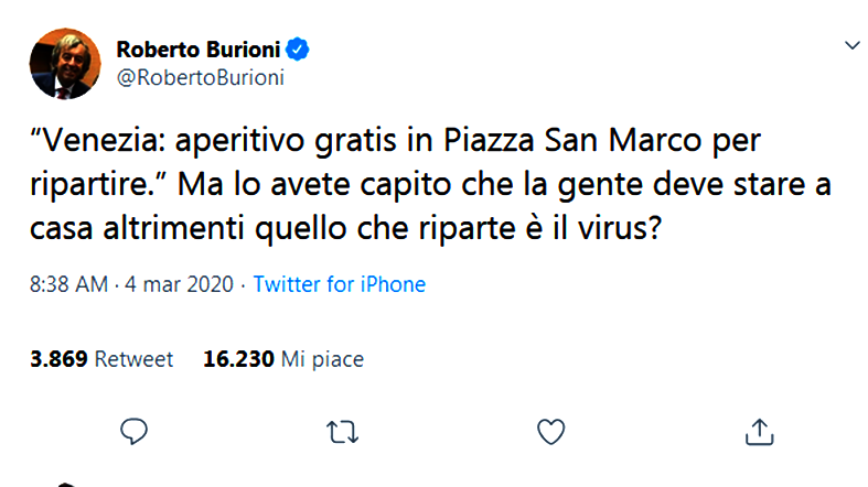 un twitter del virologo Burioni sulla movida
